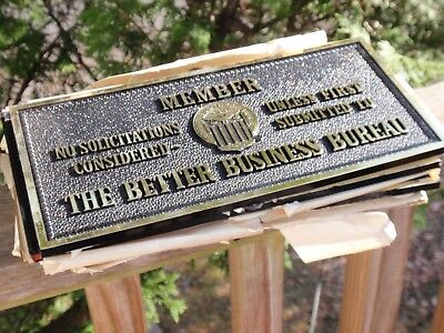 1 Vintage Bbb Better Business Bureau Sign Plastic 10.5 X 5 Inches