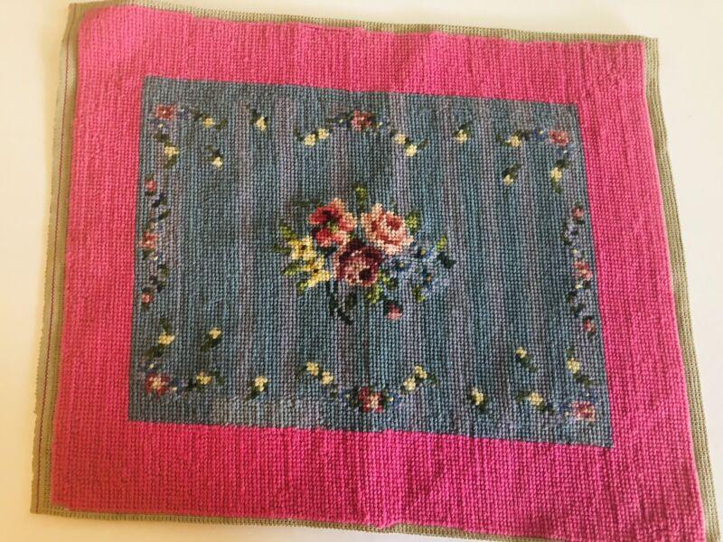 vintage unframed floral needlepoint pink blue finished ready to frame