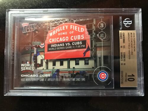 Topps Now #635 Cubs Host World Series Game 1st Time Since 1945-bgs 10 Wrigley