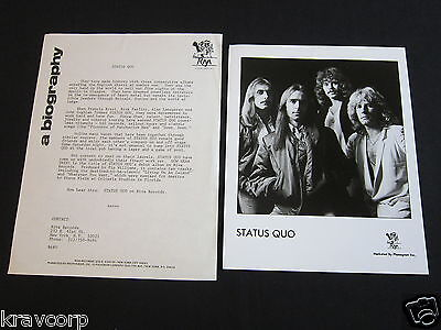 STATUS QUO 'NOW HEAR THIS!' 1980 PRESS KIT--PHOTO