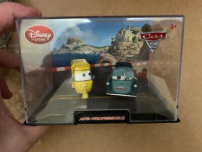 Disney Store Cars 2 Ape & Professor Z Die Cast Cars In Collector's Case.RARE