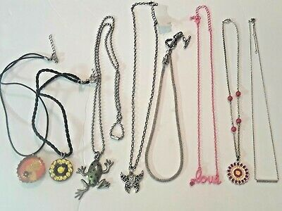 8 beautiful and Fun necklaces. Frog, Vintage glitter pop top bird, pink chain +