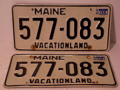 1988  Maine License Plate 577-083  Passenger Pair