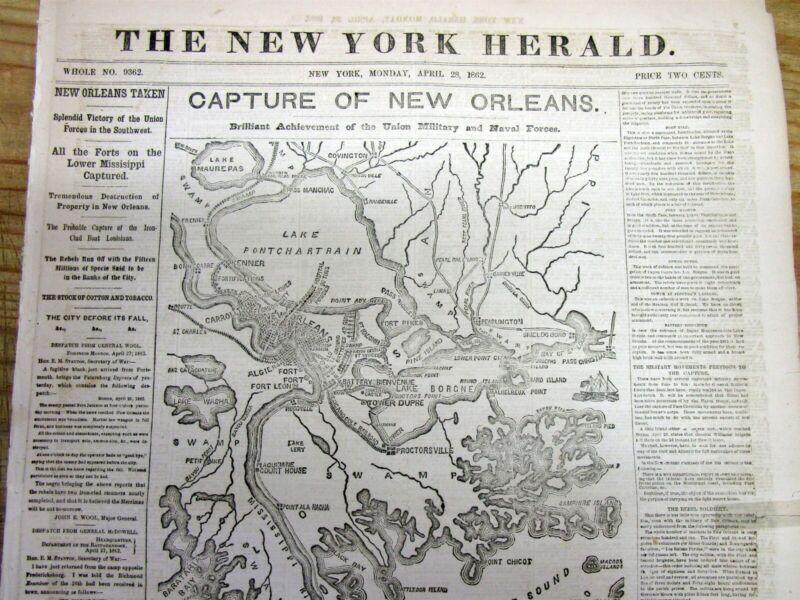 Best 1862 Civil War display newspaper w Map UNION CAPTURES NEW ORLEANS Louisiana