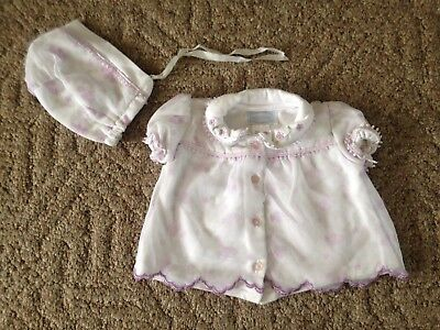 - Baby girl Baby Grand 2-piece set shirt hat size 6/9 months white purple floral