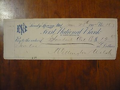 Antique Vintage 1904 First National Bank Sandy Spring Bank Check Wellingtonwelsh