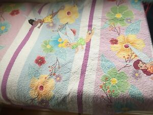 Queen size quilted tinker bell bed spread