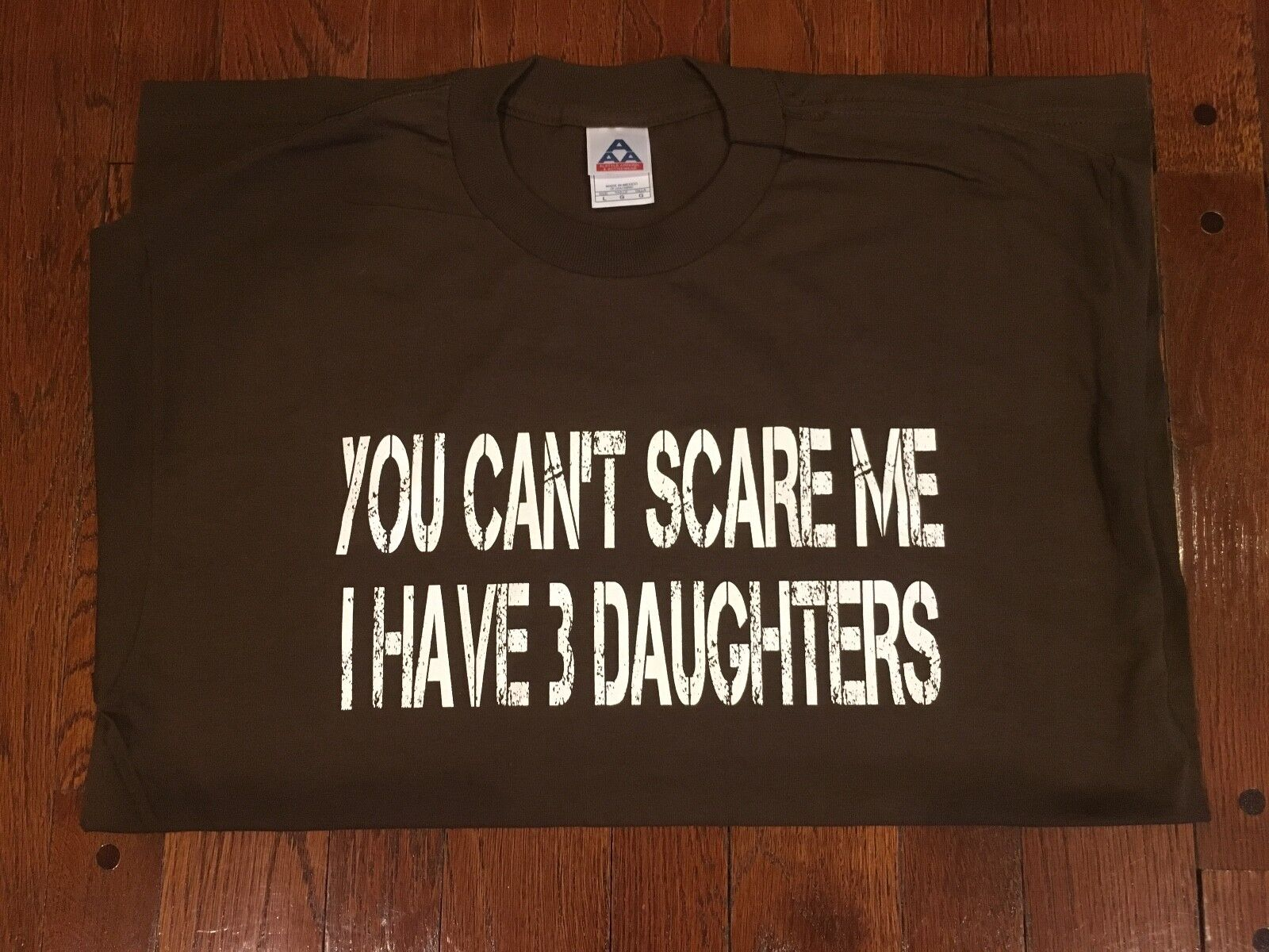"""""""You Can't Scare Me I Have 3 Daughters"""" Cotton T-Shirt 2XL GRY,BLU,PINK ,MUSTARD Clothing, Shoes & Accessories"""