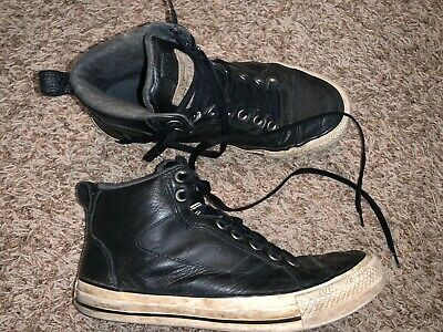 Mens CONVERSE black leather hi tops sz 8.5 well worn in
