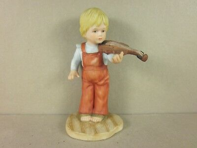 1982 Vintage Collectible Ceramic Boy Playing Violin Figurine By Enesco Boy Playing Violin