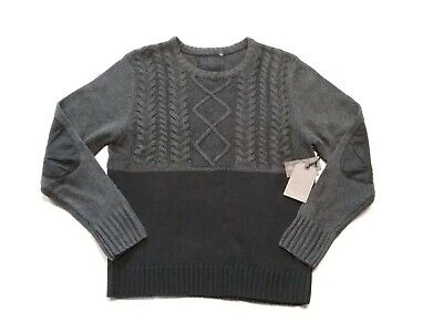 SEDUKA Mens Cable Knit Pullover Sweater Elbow Patches Charcoal/Black Sz-L NWT$90