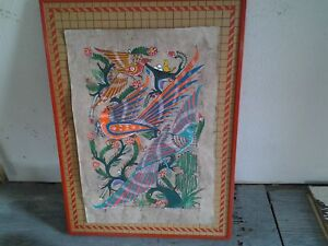 COLOURFUL MEXICAN ART ON RED FRAME