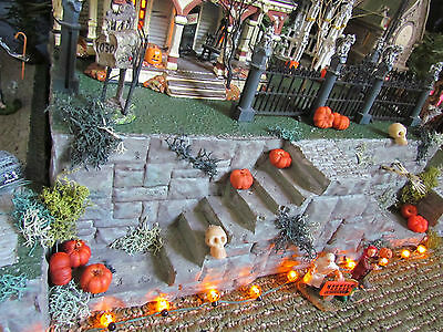 .HALLOWEEN Majestic STAIRCASE Village Display platform base 42x12 Dept 56 Lemax  (Halloween Village Display Base)
