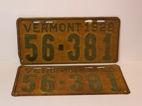 Matched Pair 1928 Vermont License Plates, Tags