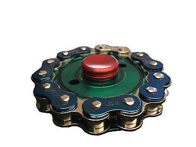 Bike Chain Fidget Hand Spinner Finger Toy Focus Gyro - Green/Blue/Red