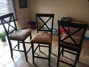 Wooden Bar Stool/Chairs with Taupe Suede Cushions