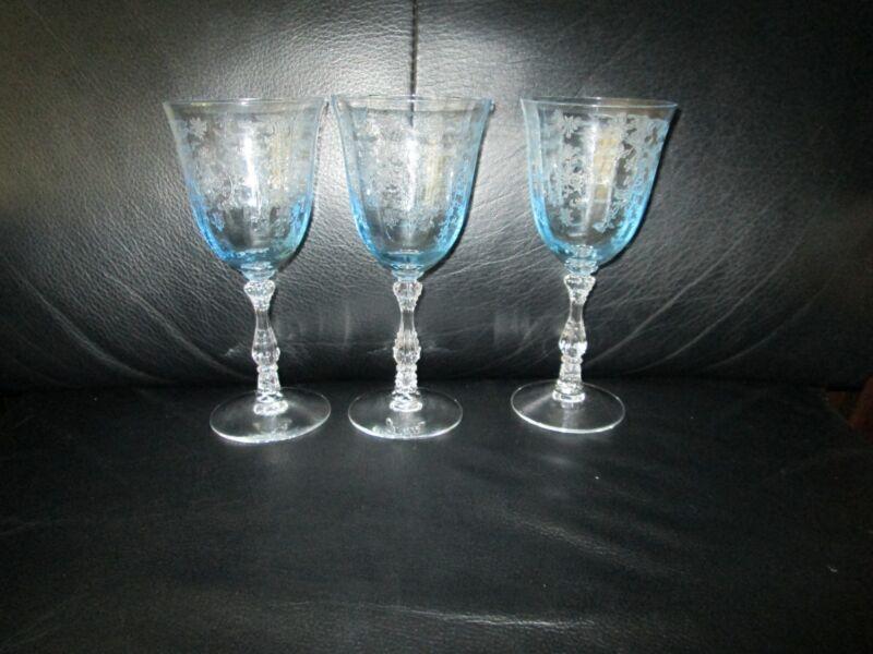 """Set of 3 Fostoria Navarre Blue Crystal  Wine Glasses 6 1/2""""  Etched Claret"""