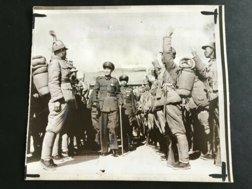 1949 CHINA CHIANG KAI SHEK REVIEW NANKING GARRISON PHOTO & NEWS ARTICLE蒋介石阅南京守卫军