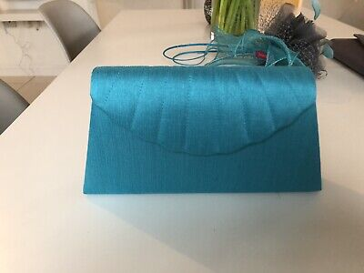 Jacques Vert Turquoise Blue Satin Clutch Bag, Perfect For Wedding Or Occasion.