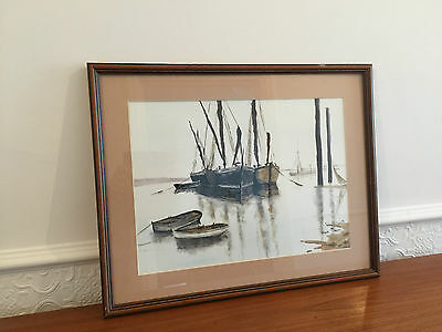 Mid Century Nautical Scene Framed Watercolour Picture Art Signed By Artist