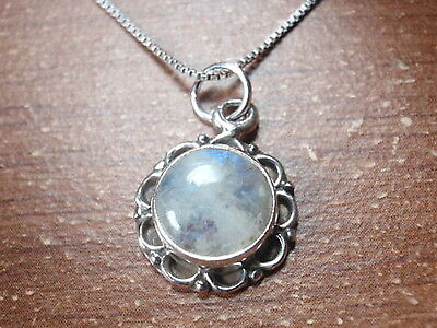 - Round Blue Moonstone with Circle Accents 925 Sterling Silver Pendant