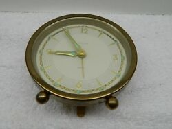 Vintage Heiss West Germany Desk Alarm Clock Works Steampunk Decorating Gold Tone