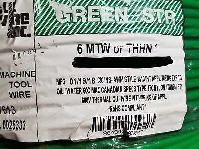 Republic 6awg Mtwthhnthwn-2 Stranded Bare Copper Building Wire Green 50ft