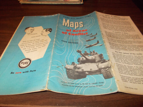 """1950 Pure Oil """"Areas of Conflict"""" Vintage Map"""