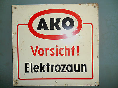 Schild Vorsicht ! Elektrozaun Türschild ca. von 1959 Marke : AKO