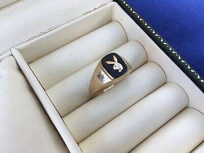 Vintage 9ct Gold & Onyx Playboy Bunny Ring