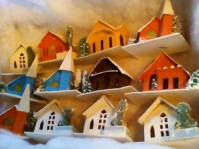 vintage Christmas Putz house lot 39pcs