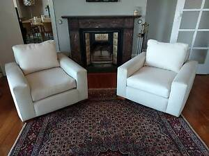 2 x Single Seater Lounge Chairs - Cream Hunters Hill Hunters Hill Area Preview