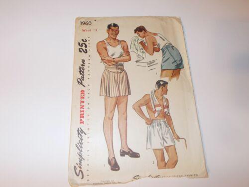 VTG Simplicity Pattern 1960 Mens Shorts Sewing Pattern Size Waist 30