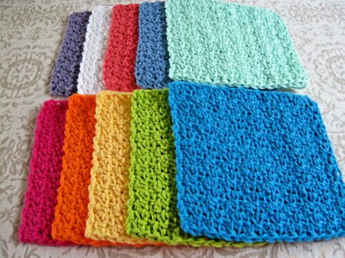 "10 Crochet  Dishcloths / Washcloths 100% Cotton - Handmade - 6 ""- # 9-3"