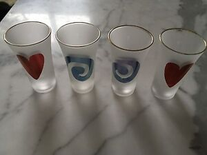 4 frosted shot glasses with cute motifs Norwood Norwood Area Preview