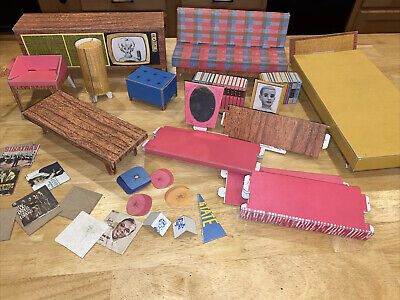 Vintage 1962 Cardboard Mattel Barbie Dream House Furniture and Accessories