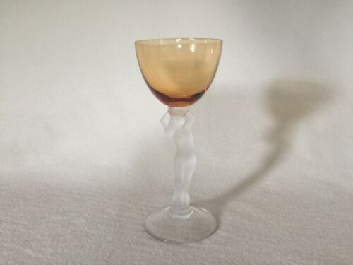 Cambridge Glass Frosted Nude Stem Statuesque Cocktail Goblet Amber 3011