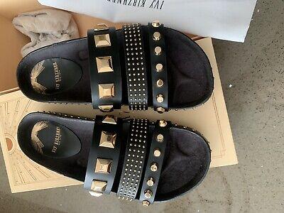 Ivy Kirzhner New York Designer Black And Gold Rock Stud Sandles Size 3 Rrp £270