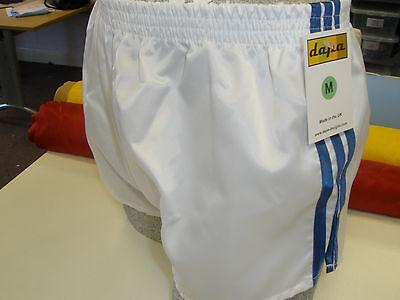 Nylon Satin Shorts - Retro Nylon Satin Football Shorts S - 4XL, White - Royal Blue