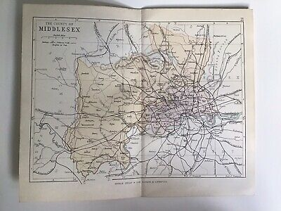 County Of MIDDLESEX, England, 1884 Original Antique Map, George Philip, Atlas