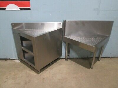 Perlick Lot Of 2 Commercial Heavy Duty Under Counter Corner Ss Drain-boards