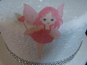 12-PRECUT-Pink-Fairy-Edible-wafer-rice-paper-cake-cupcake-toppers