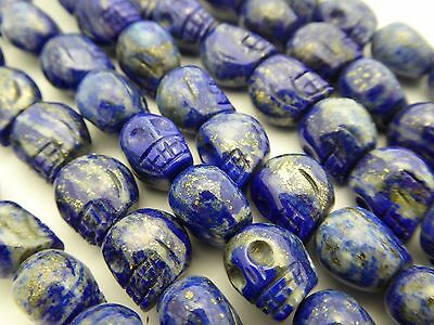 - Skull Bead Natural Lapis Lazuli Gemstone Hand Carved Center Drill 11mm 4 Pieces