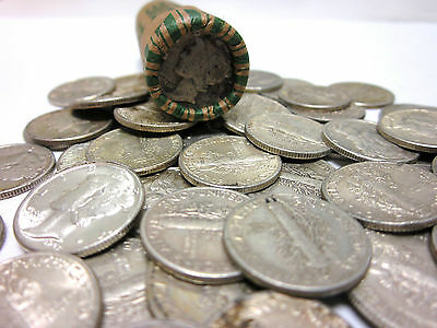 Roll of 50 Unsearched/Circulated Mercury Dimes - 90% SILVER Mercury Dime Roll