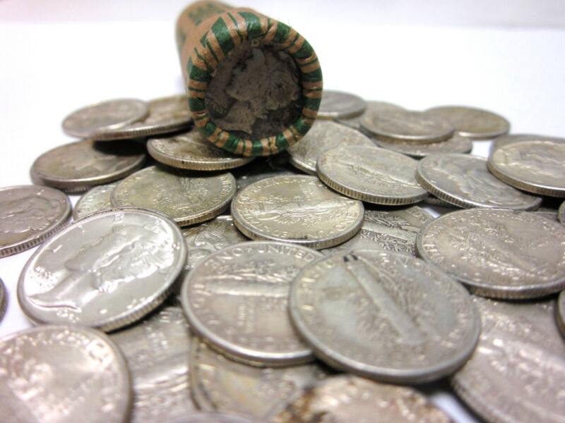 Roll of 50 Unsearched/Circulated Mercury Dimes - 90% SILVER