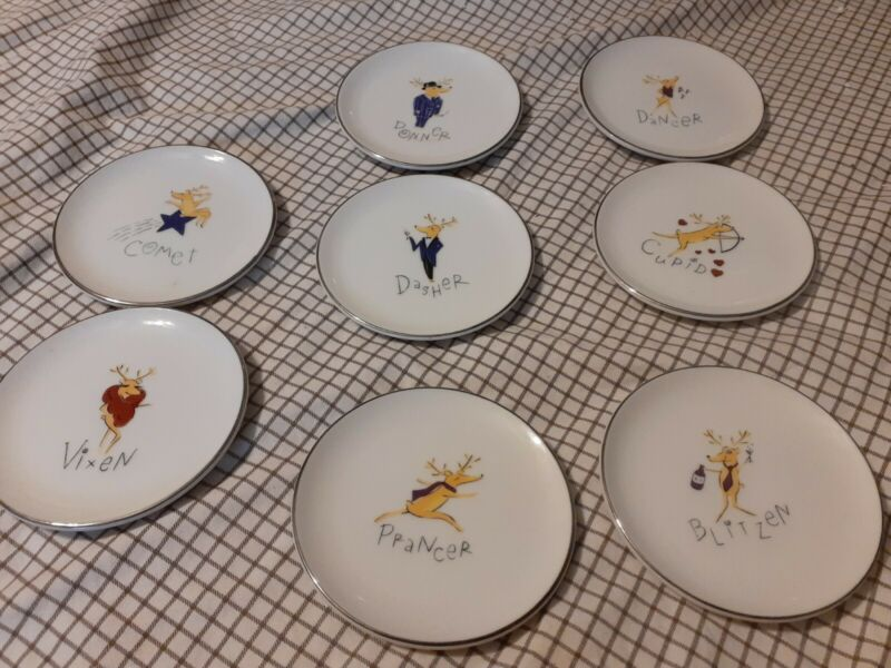 "Pottery Barn REINDEER 4"" Mini Plate Coaster Set 8 Pc  Porcelain Platinum"