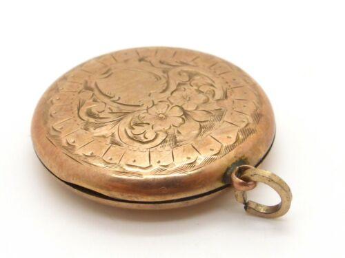 Victorian Locket Pendant Rose Gold Plated w. Original B+W Photos Round Engraved