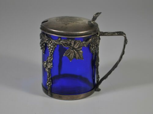 Antique sterling cobalt glass mustard pot