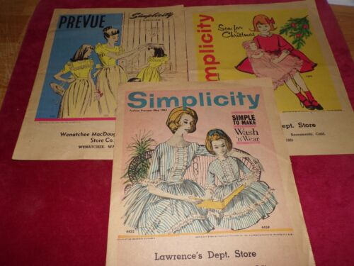 💐 LOT OF 3 SIMPLICITY VTG. COUNTER LEAFLETS - MARCH 1946 - DEC 1961 - MAY 1962