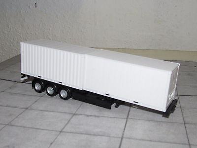 Herpa 076494 - Containerauflieger - schwarz - 2 verschiedene 20-Fuß-Container